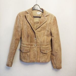 Ann Taylor Tan Leather Suede Blazer Coat Jacket 4